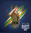 indian army soilder saluting flag of india with vector image vector image