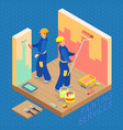 isometric interior repairs concept two decorators vector image