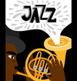jazz man african playing trumpet banner vector image vector image