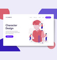landing page template character design process vector image vector image