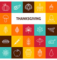 Line Art Thanksgiving Day Holiday Icons Set vector image vector image