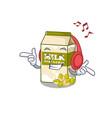 listening music pistachio milk cartoon character vector image vector image