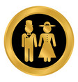 male and female restroom symbol button vector image vector image