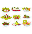 meals and food set salads and snacks collection vector image