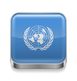 Metal icon of United Nations vector image