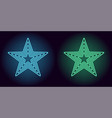 neon blue and green star vector image vector image