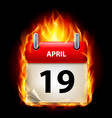 nineteenth april in calendar burning icon on vector image vector image