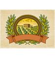Olive harvest label vector image