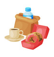 paper bag package with healthy breakfast plastic vector image vector image