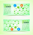 pharmaceutics and pharmacy horizontal banners set vector image vector image