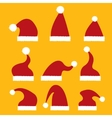 red Santa hat icon set vector image vector image