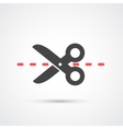 Scissors with cut line flat icon vector image vector image