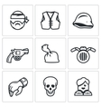 set criminal biker club icons biker vector image