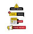 set fake news warning sign in various shape vector image vector image