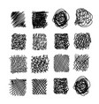 set of hand drawn scribble symbols isolated on vector image vector image