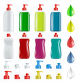 set of plastic containers with soap for washing vector image