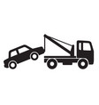 simple tow truck towing car silhouette vector image