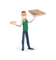 smiling office worker stand with carton pizza box vector image
