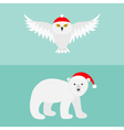 Snowy white owl Polar bear Red Santa hat Flying vector image