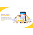 social media automation website landing vector image vector image