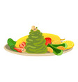 spinach with fruit and vegetables icon cartoon vector image