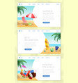 summer vacation landing pages set calm seaside vector image vector image