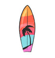 surfboard with colorful lines and palm tree vector image vector image