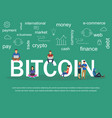 text bitcoin with young vector image vector image