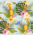 tropic exotic flowers seamless vector image vector image