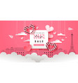 valentines day sale template pink papercut paris vector image vector image