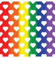 white hearts on rainbow background lgbt vector image vector image
