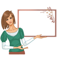 Young woman posing for presentation vector image