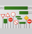 blank street traffic and road signs set vector image