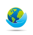 hand holding globe world care icon graphic vector image
