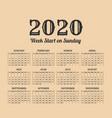 2020 year vintage calendar weeks start on sunday vector image vector image