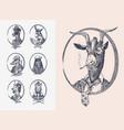 animal characters set smoking goat llama skier vector image vector image