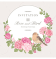 Beautiful frame with pink roses and birds vector image vector image