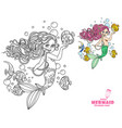 beautiful little mermaid girl coloring page vector image vector image