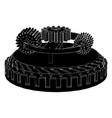 black gear mechanism vector image vector image