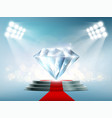 blue diamond on the podium with a red carpet vector image