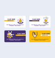 bowling club set business cards vector image vector image