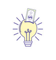 bulb idea with bill cash money vector image
