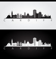 cardiff skyline and landmarks silhouette vector image
