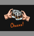 cheers toast on a black background a glass of vector image vector image
