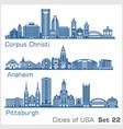cities usa - corpus christi anaheim vector image vector image