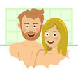 couple enjoying bath embrace bubbles and foam vector image vector image