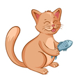 cute happy cat with a fish in the hands Cartoon vector image