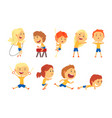 cute smiling kids doing sports set activity kids vector image vector image