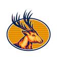 Deer Stag Buck Head Retro vector image vector image