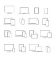 digital devices line icon set on white background vector image vector image